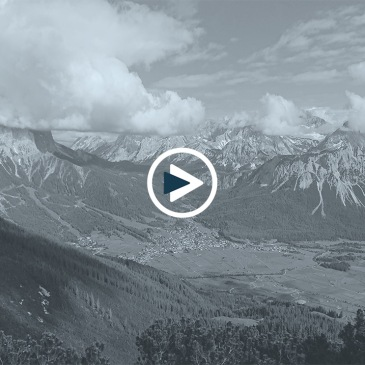 View of mountain ranges and white huge clouds in Tyrol Zugspitz Area Austria